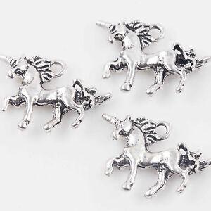 10/20Pcs Tibet Silver Unicorn Shape Charms Pendants Jewelry Making Craft 20x15mm