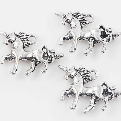 10/20Pcs Tibet Silver Unicorn Shape Charms Pendants Jewelry Making Craft 20x15mm