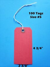 100 Blank Red Tags 4 34 X 2 38 Size 5 Inventory Shipping Hang String Strung
