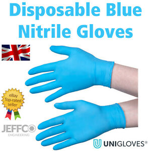 Blue Nitrile Gloves Unigloves Disposable Small Extra Large Latex Vinyl