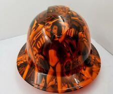 New Custom Pyramexfull Brim Harley Biker Babes Black And Orange Crazy New
