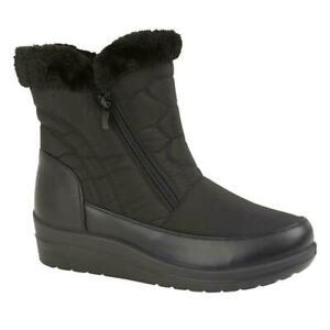 Ladies-Womens-Warm-Fur-Collar-Fleece-Lined-Winter-Black-Wedge-Heel-Ankle-Boots