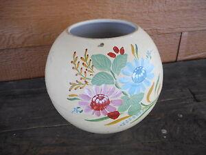 Vintage-Flower-Planter-Pot-apx-5-034-dia-Painted-Pottery-Kitsch-Flea-Mkt-Farmhouse