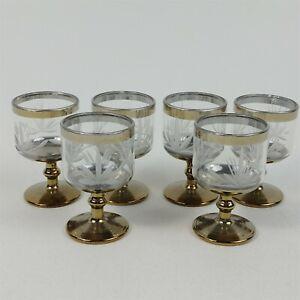 6-Cordial-1-Oz-Stemmed-Shot-Glasses-Vintage-Cut-Design