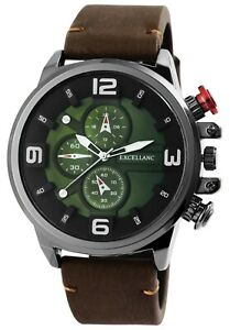 Excellanc-Herrenuhr-Gruen-Braun-Chrono-Look-Kunst-Leder-Armbanduhr-X2900159001