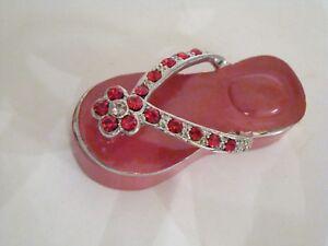 c75d65a0cc4503 Image is loading Jeweled-Trinket-Box-RED-Flip-Flop-trinket-box