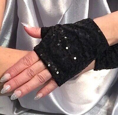 Long Lace Fingerless Gloves Black Sequin Cuffs Arm Warmers Bracelet Effect
