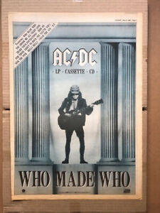 AC/DC WHO MADE WHO POSTER SIZED original music press advert from 1986- printed o