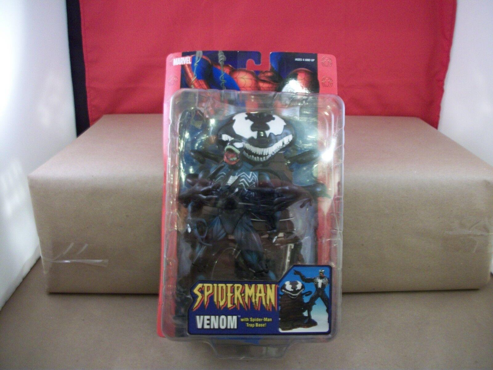 New Spider-Man Venom Action Figure with Spider-Man Trap Base - 2004-
