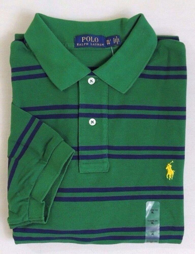 $98 Hommes Polo Ralph Lauren Pony Manches Courtes à Rayures Classique Mesh Shirt Xl Xxl
