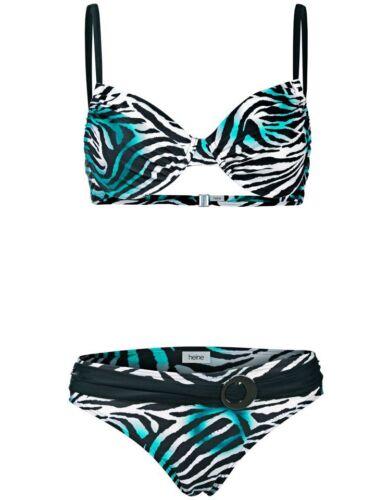 KP 49,90 € SALE/%/%/% NEU!! Heine Smaragd-weiß-schwarz Bügel-Bikini Cup B