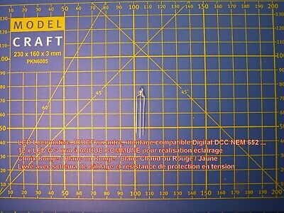 10 LED bicolore 2 mm 3 pattes Cathode Commune choix couleur 20 Résistances HO