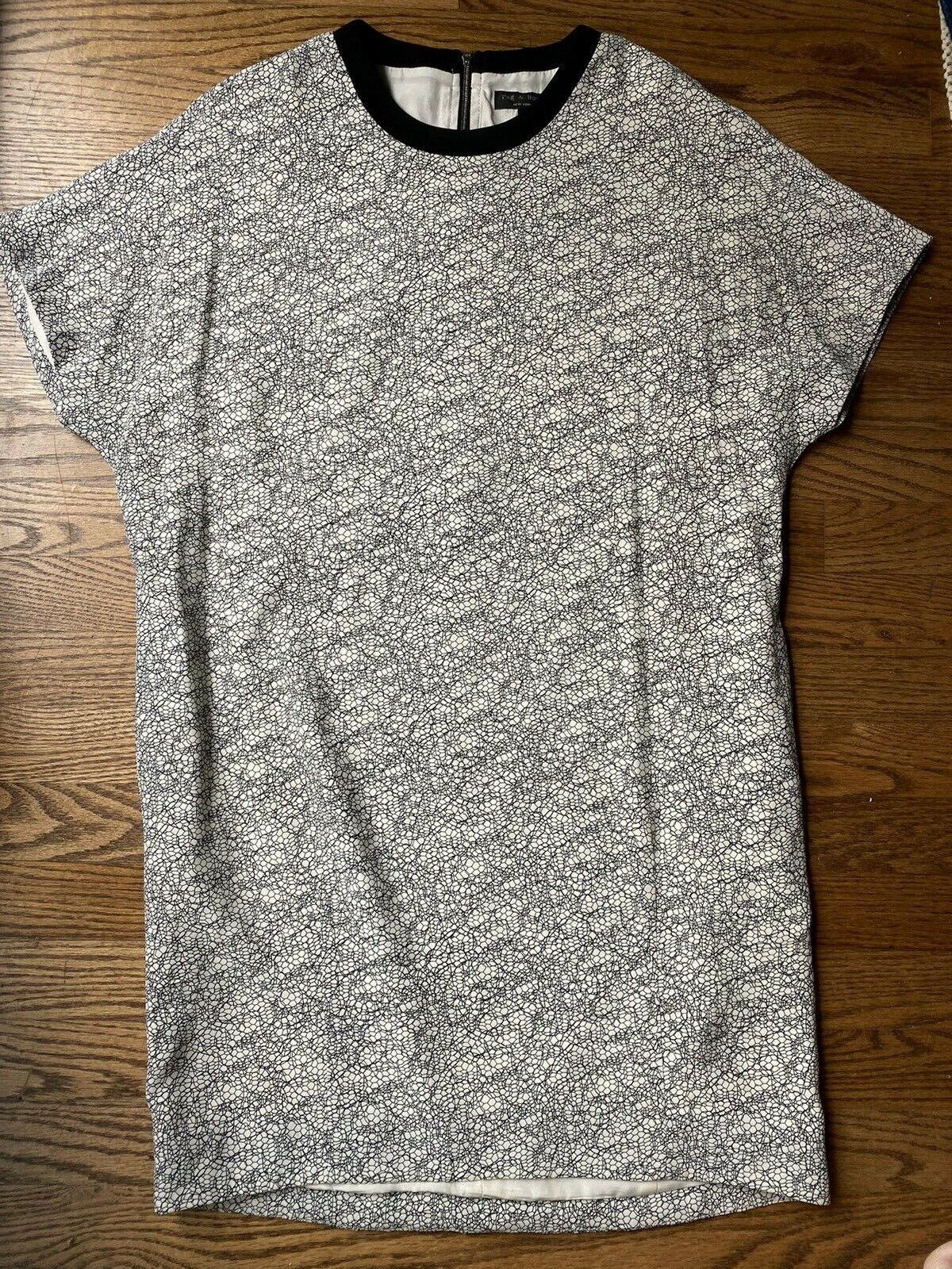 Rag and Bone 100% Silk White and Black Geometric … - image 1