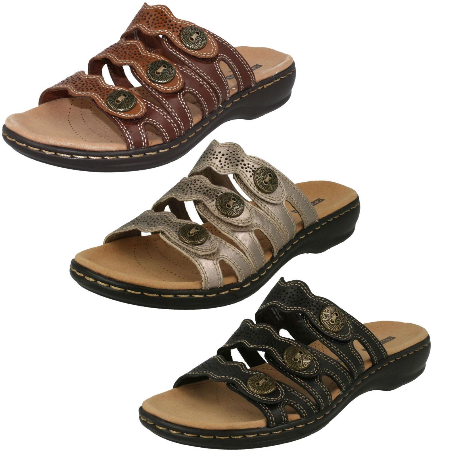 Clarks Mujer Punta Abierta mocasín piel Informal Zapatos De Las sandalias mulas