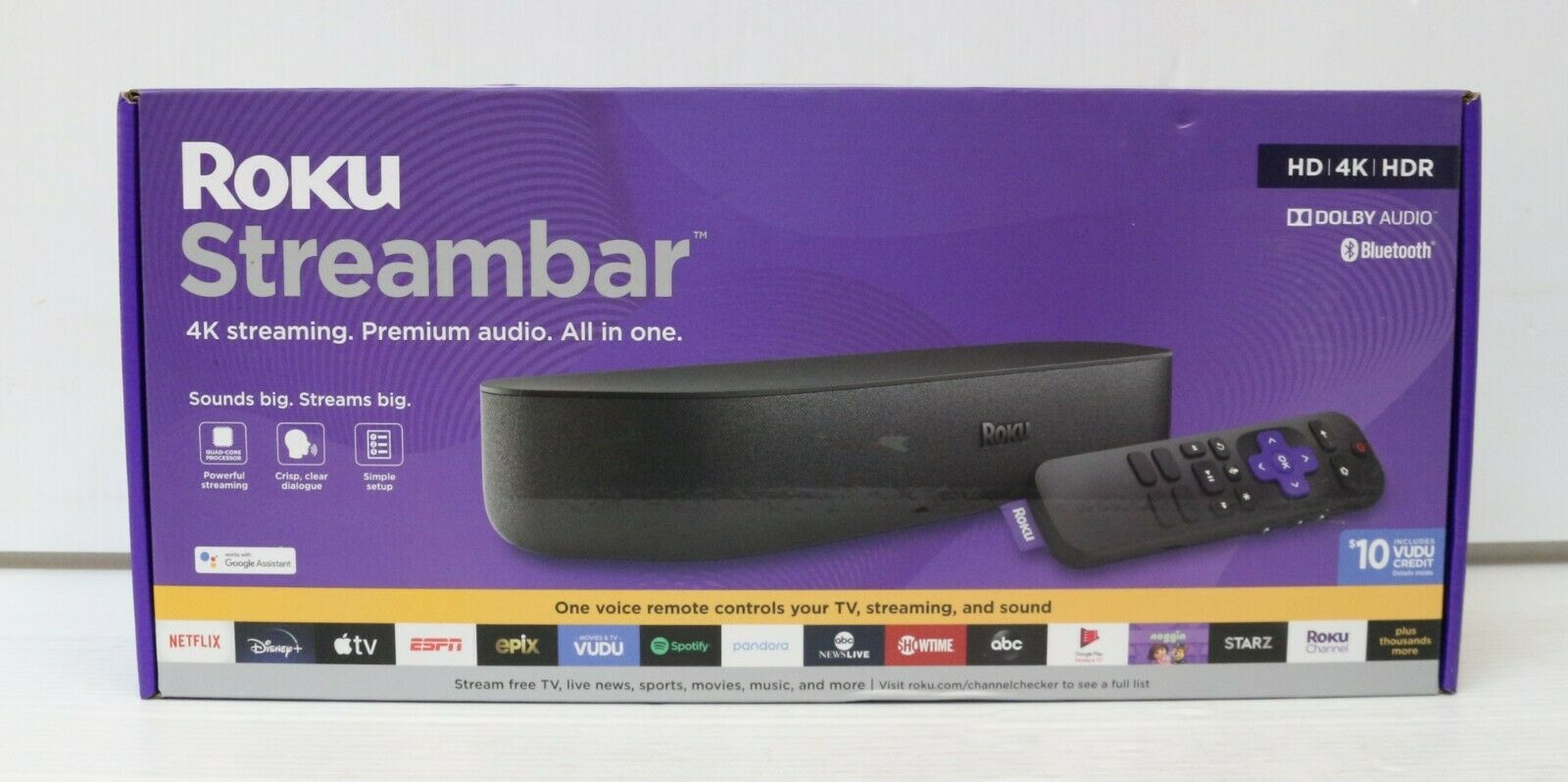 Roku Streambar 9102RW 4K Streaming Media Player / Premium Audio All in One - NEW 9102rw all audio media one player premium roku streambar streaming
