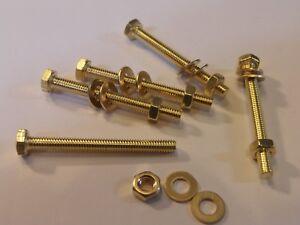 M4X40-BRASS-HEX-HEAD-BOLTS-NUTS-amp-WASHERS-PACK-0F-5-BRASS-SET-SCREWS-X5