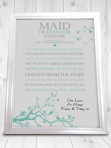 personalised wedding poem print a gift for my maid of honour on my