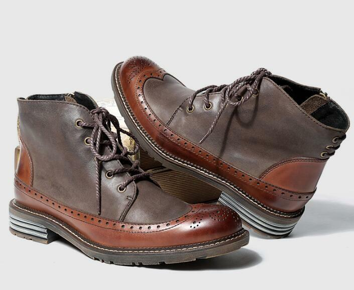 New Mens Fashion Vintage Brogue Carved Wing Tip Booties High Top Business shoes