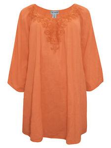Catherines-Bluse-Top-Plus-Groesse-20-22-24-26-28-30-32-34-36-38-orange-Baumwolle