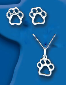 Dog-Paw-Print-Set-Pendant-and-Drop-Earrings-Sterling-Silver-925-Hallmark-Boxed