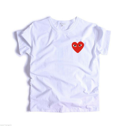UK Mens Comme Des Garcons CDG Play Red Heart T-shirt Womens Short Tee Tops *