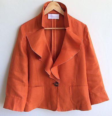 VALENTINO Women Orange Linen Blazer 48/12 Summer 3/4 Sleeve One Button Jacket