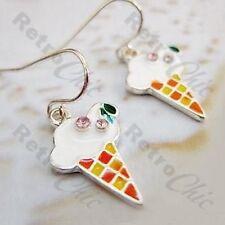 KITSCH ICE CREAM crystal DROP EARRINGS cherry cone charms RHINESTONE silver pltd