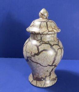 Haeger-Large-Vase-Ginger-Jar-Tan-Marbling-Glaze