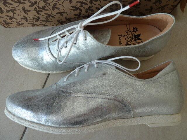 SALE  NEU Think  Damen Shua Ballerinas Schnürer Leder Silber Gr. 39,5
