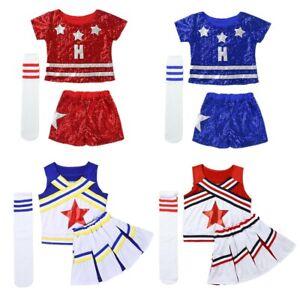 Costume-da-Cheerleader-ragazza-uniforme-Bambini-Costume-Vestito-Liceo-Performance