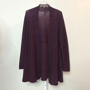Eileen-Fisher-Large-Cardigan-Sweater-Merino-Wool-Open-Front-Long-Sleeve-Purple