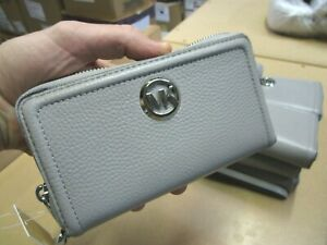 NWT Michael Kors Fulton Large Leather MF Phone Flat Case Wallet Purse Wristlet