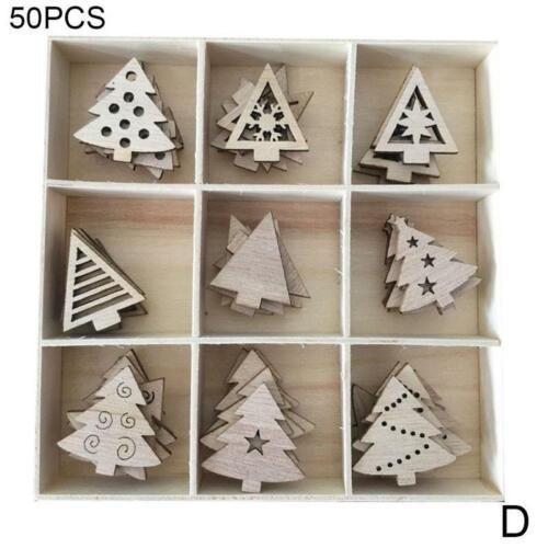Wooden Christmas Tree Hanging Ornaments Decor Wood Embellishments Craft DIY