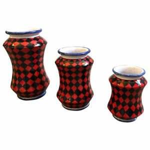 Set-of-Three-Unique-Pieces-Hand-Painted-Sicilian-Terracotta-Albarello-Vases