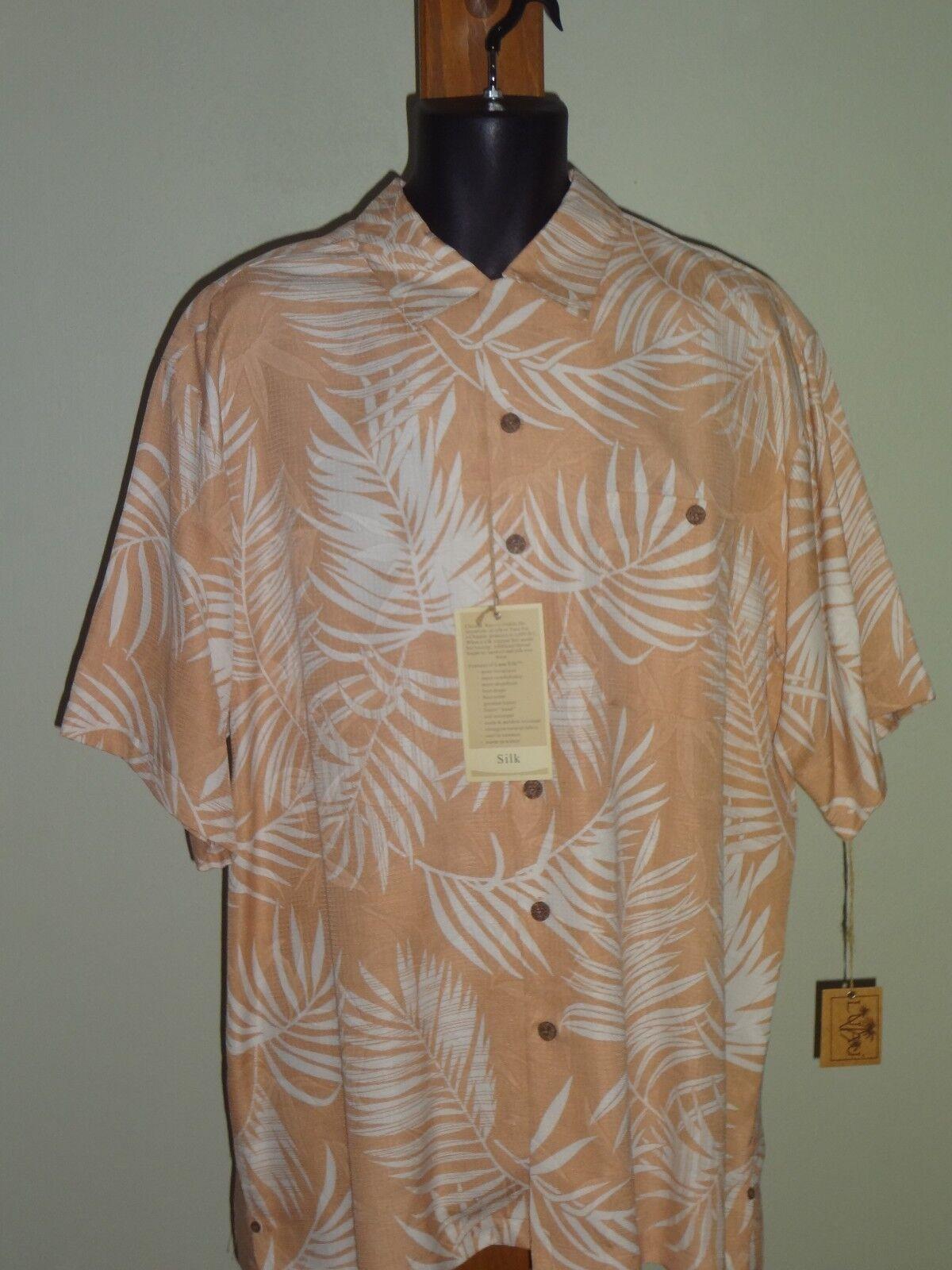 Luau 100% Silk Camp Shirt Size L color golden Tan