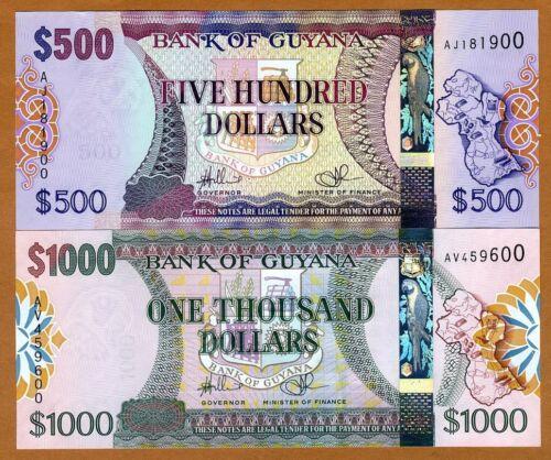 SET Guyana ND UNC 500;1000 dollars P-37-39 2011