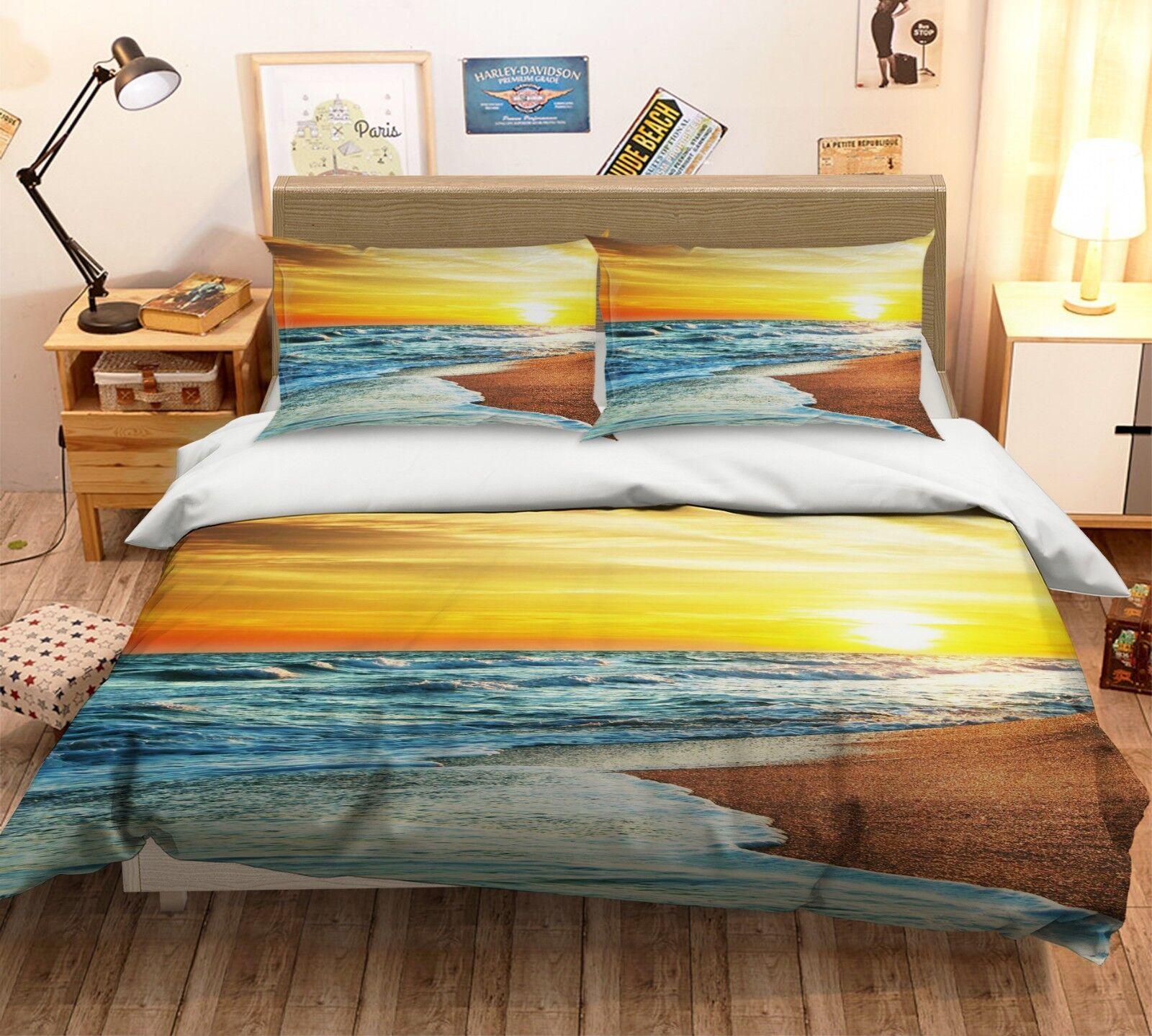 3d alba sulla spiaggia 5 LETTO FEDERE steppe duvet set soffitto single