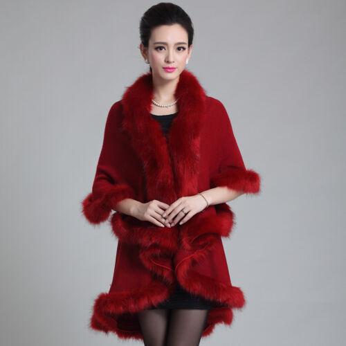 Women Apparel Faux Fur Wool Knitting Long Cape Shawl Cardigan Coat Wrap Cloak