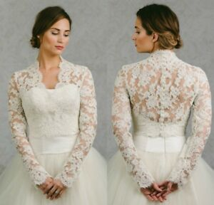Lace-Applique-Wedding-Boleros-White-Ivory-Bridal-Jackets-V-Neck-Custom-2-26W-New