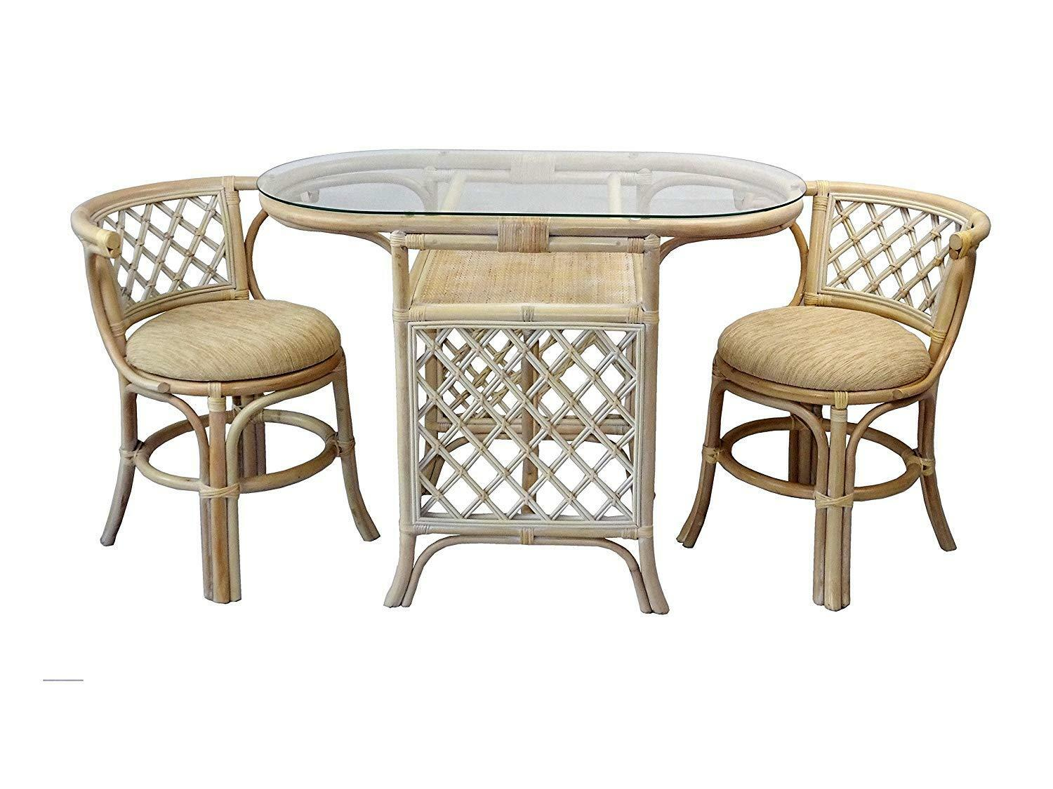 Borneo Compact Dining Set Table With Glass Top 2 Chairs Colonial Handmade For Sale Online Ebay