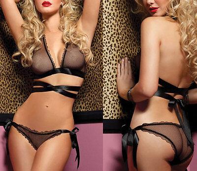 HOT Ladies Sexy Lingerie Sleepwear Bikini Set Mesh Bra Panties Belt Adjustable