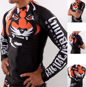 MMA Rash Guard Bjj Compression Long Short Sleeve Top Tiger Muay Thai Jiu Jitsu