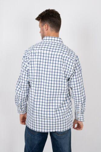 Foschia blu da uomo Paese Check Camicia a Maniche Lunghe Blu A Quadri Aintree