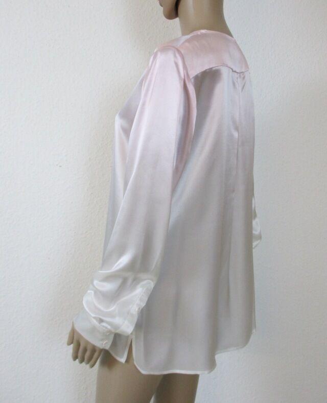 SeidenBlause, langarm, Farbe Rosa - weiß geflammt, Größe 40