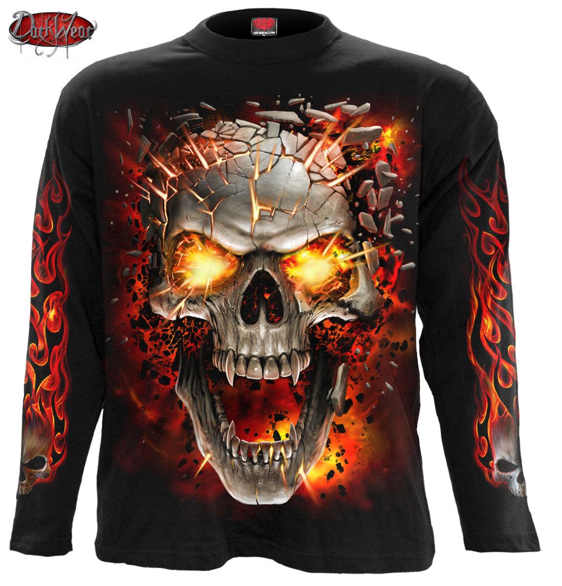 SPIRAL DIRECT SKULL BLAST Long Sleeve T-Shirt Tattoo Fire Skull Goth Flames Top