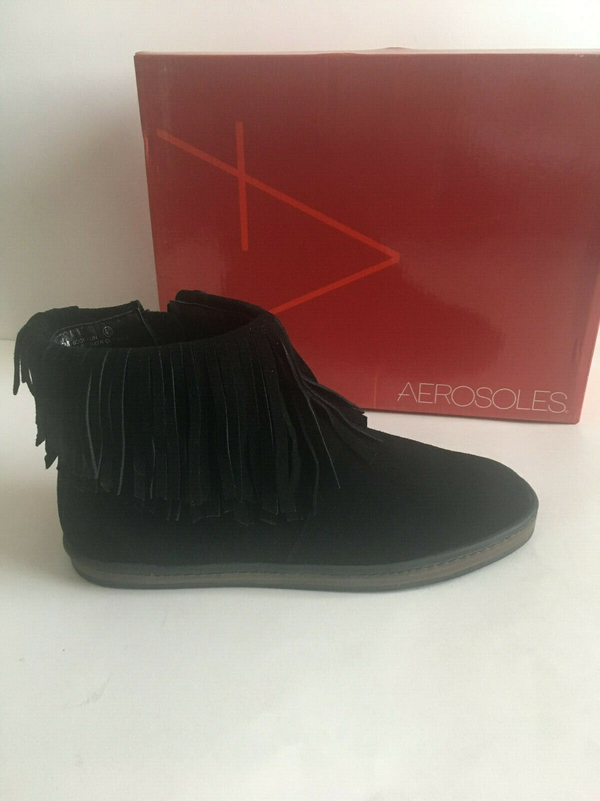 New AEROSOLES GOOD FUN Black Suede Leather Fringe Ankle Boots US Sz 9M