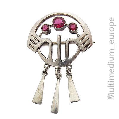 Zielsetzung Jugendstil Brosche Silber Art Nouveau 800 Silver Pin Brooch Red Paste ????????????????????