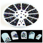 300pcs 3D Nail Art Wheel Tips Crystal Glitter Rhinestone Pearl Decoration New