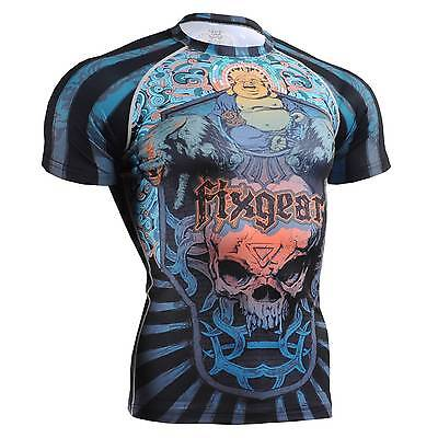 FIXGEAR CFS-74 Compression Base Layer Short Sleeve Shirts, Workout Fitness MMA