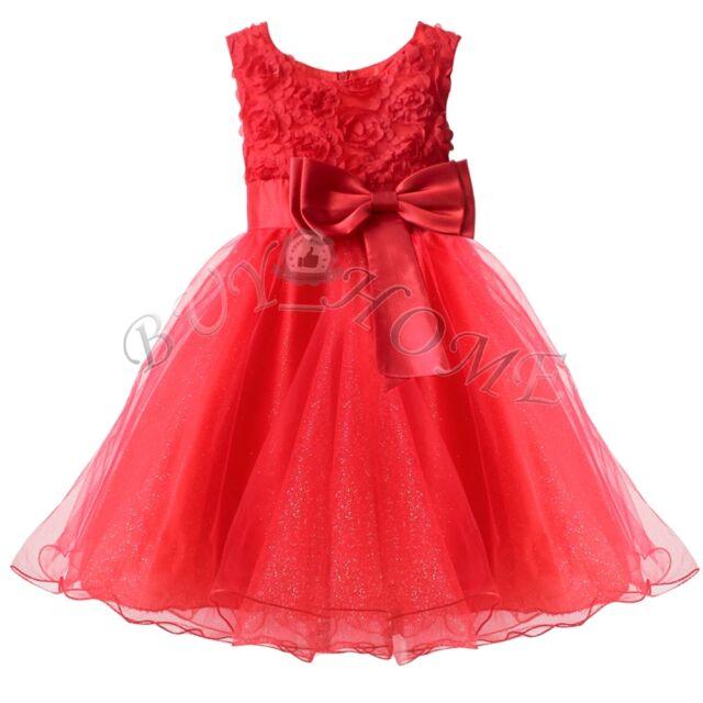 Xmas Girls Formal Wedding Bridesmaid Party Christening Dress Ages 1 2 3 4  5 6 7